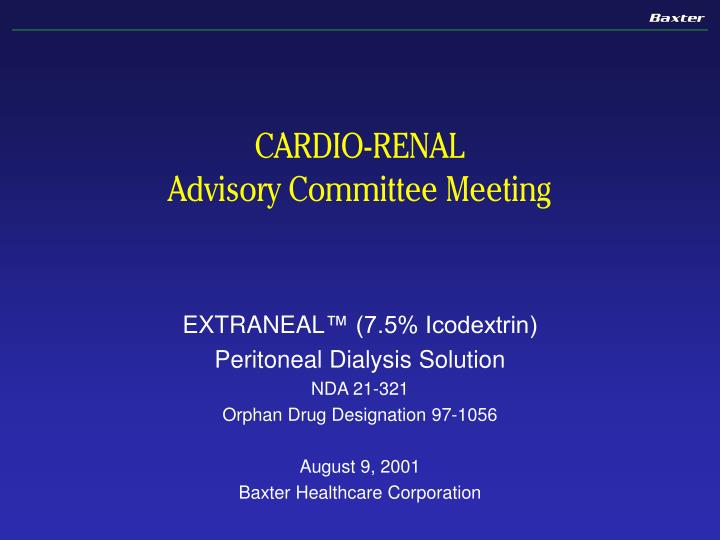 cardio renal advisory committee meeting n.