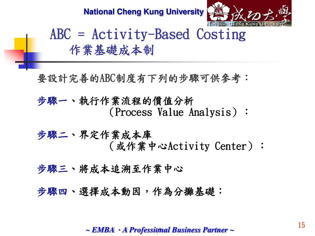 ABC = Activity-Based Costing