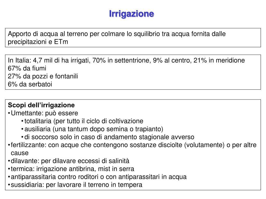 Ppt Irrigazione Powerpoint Presentation Id 447544
