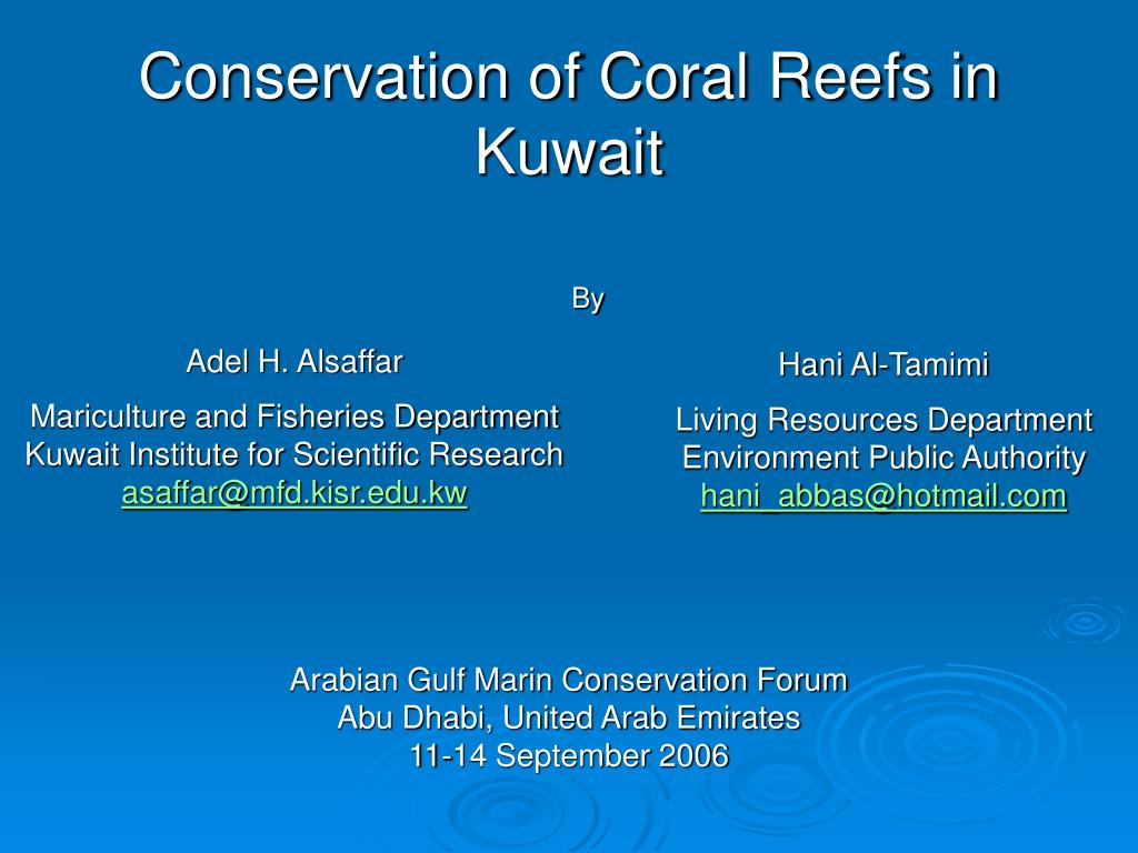 conservation of coral reefs in kuwait l.