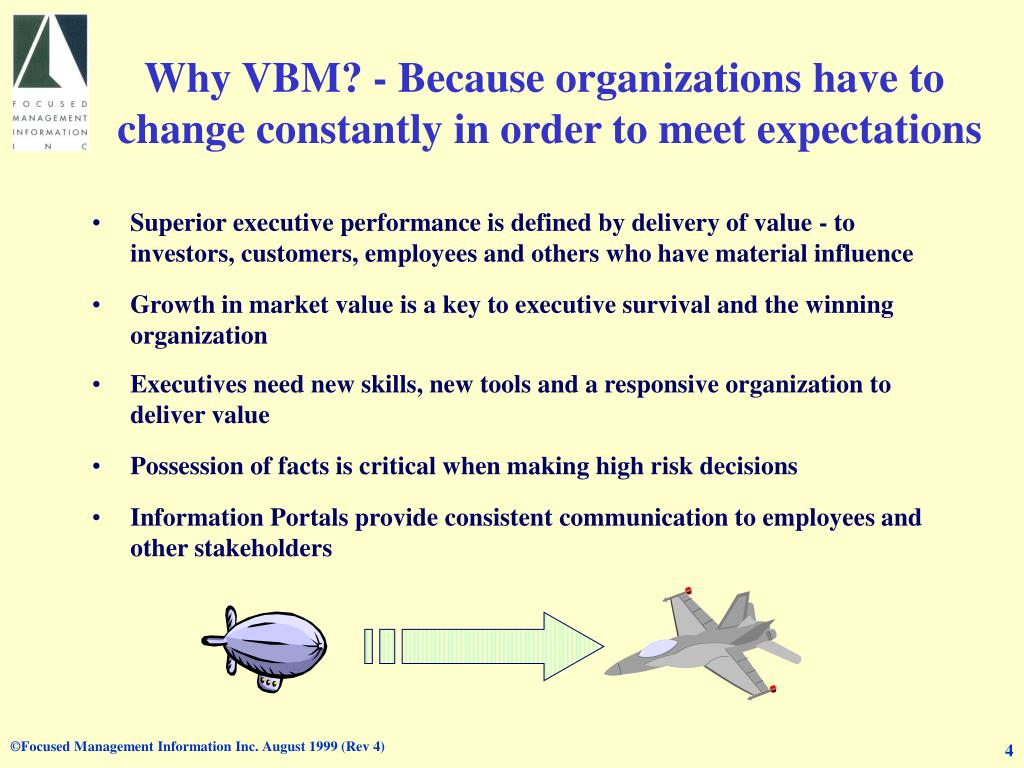 Why VBM? - Because organizations have to