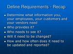 define requirements recap
