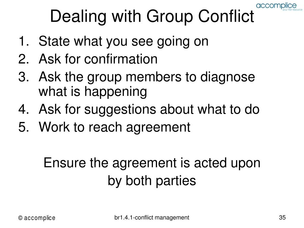 Dealing with Group Conflict