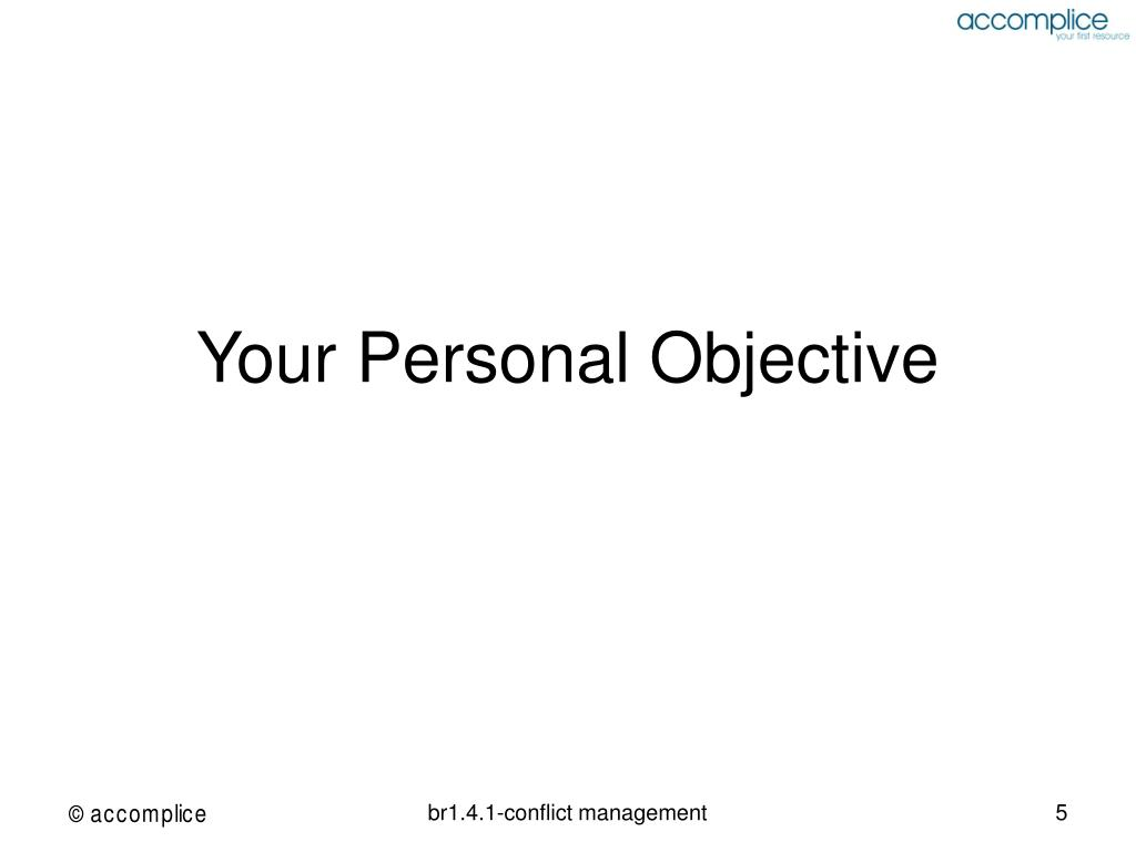 Your Personal Objective
