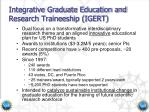 integrative graduate education and research traineeship igert