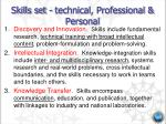skills set technical professional personal