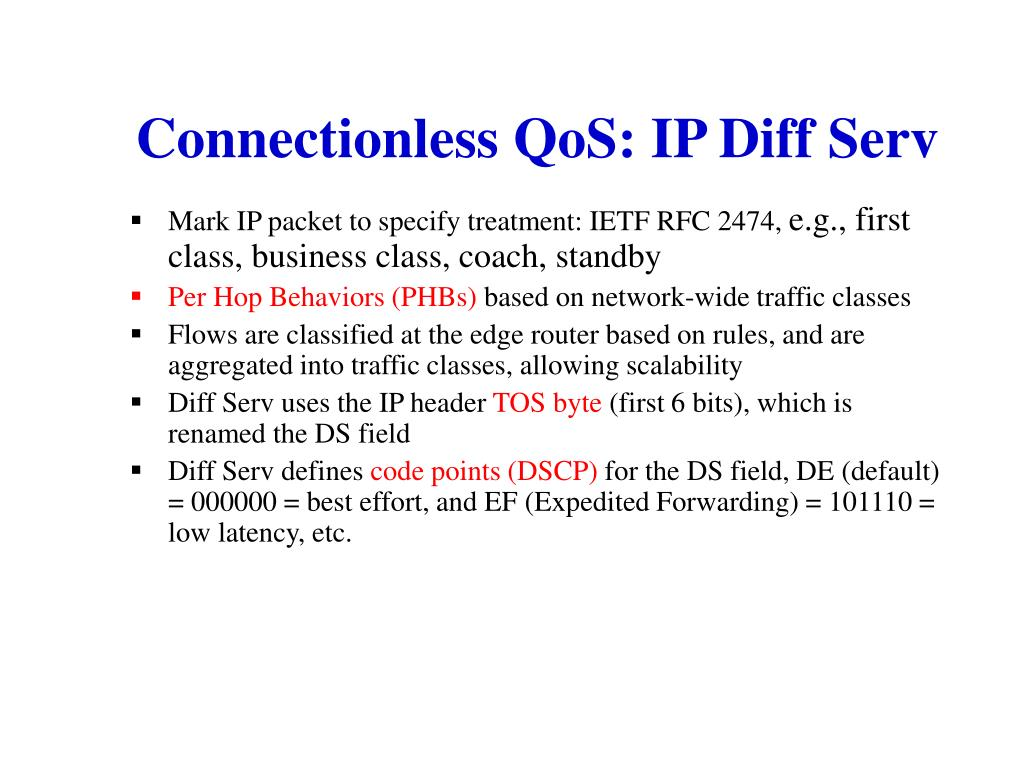 Connectionless QoS: IP Diff Serv