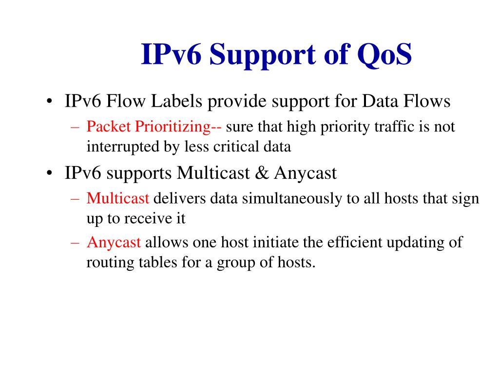 IPv6 Support of QoS