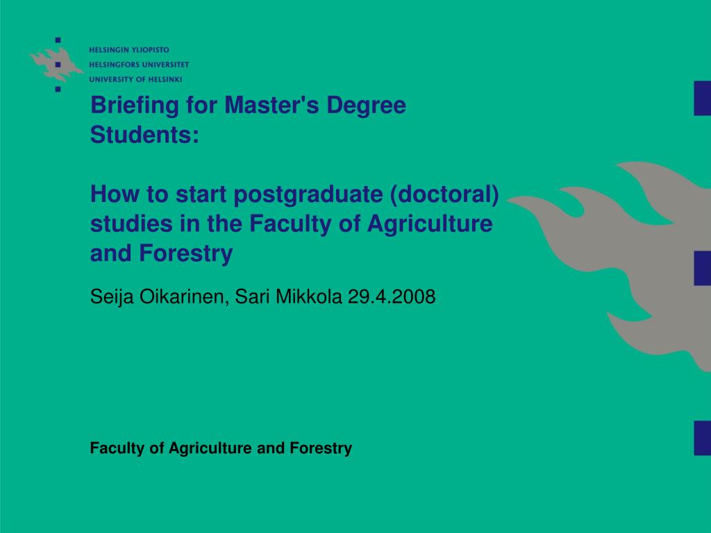 Briefing for Master's Degree Students: