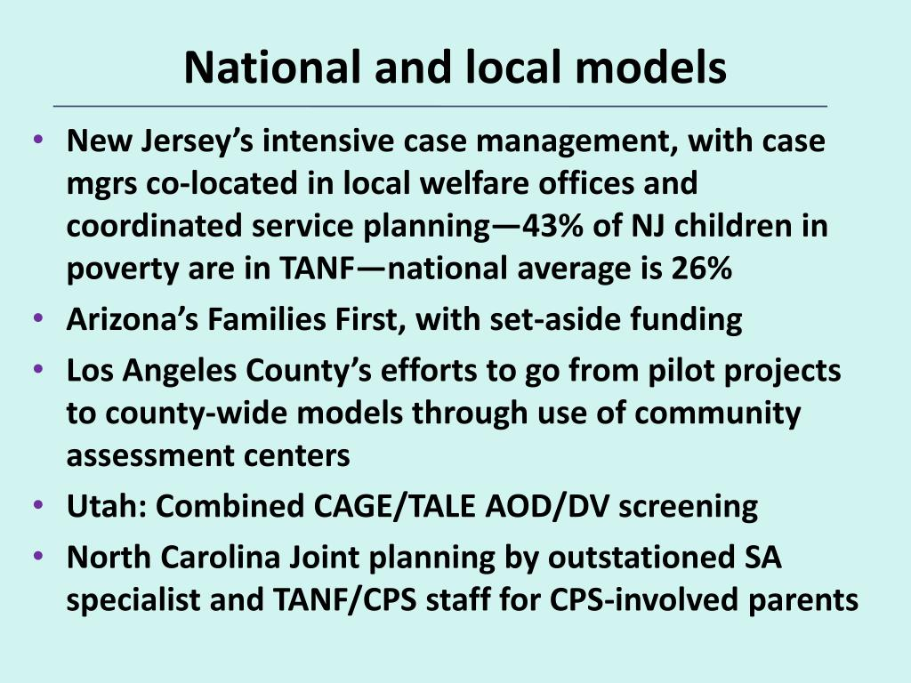 National and local models