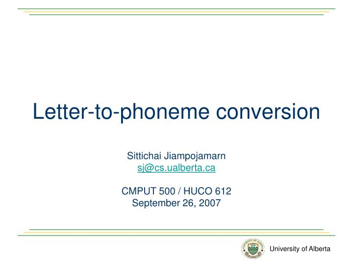 letter to phoneme conversion n.
