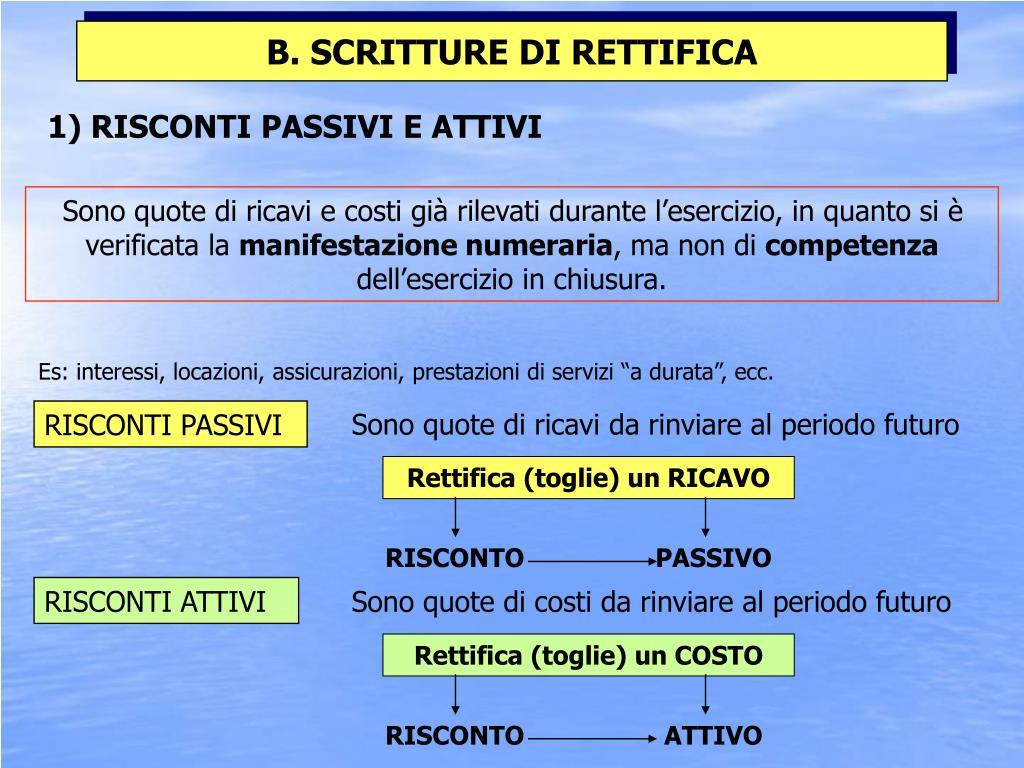1) RISCONTI PASSIVI E ATTIVI