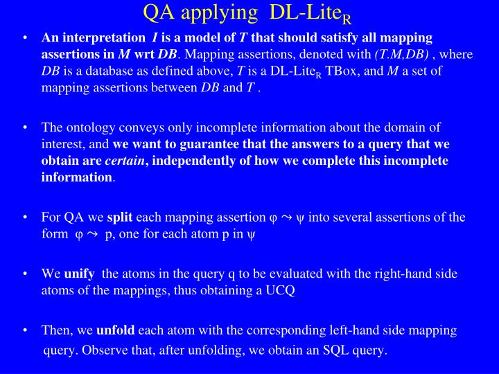 QA applying  DL-
