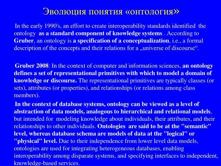 Эволюция понятия «онтология