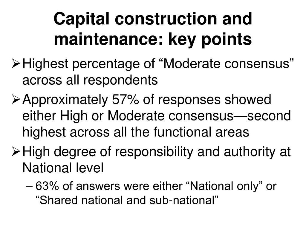 Capital construction and maintenance: key points