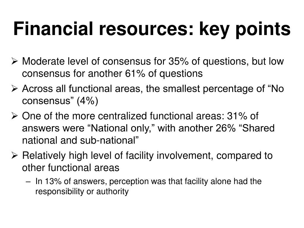 Financial resources: key points