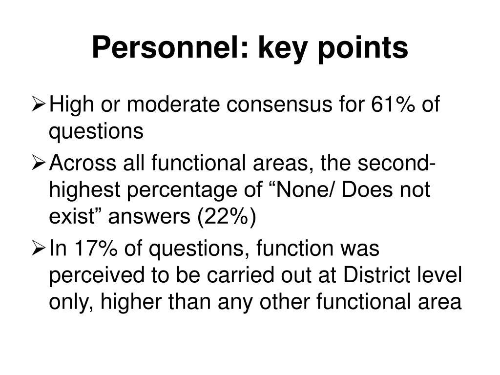 Personnel: key points