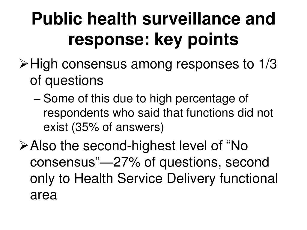 Public health surveillance and response: key points
