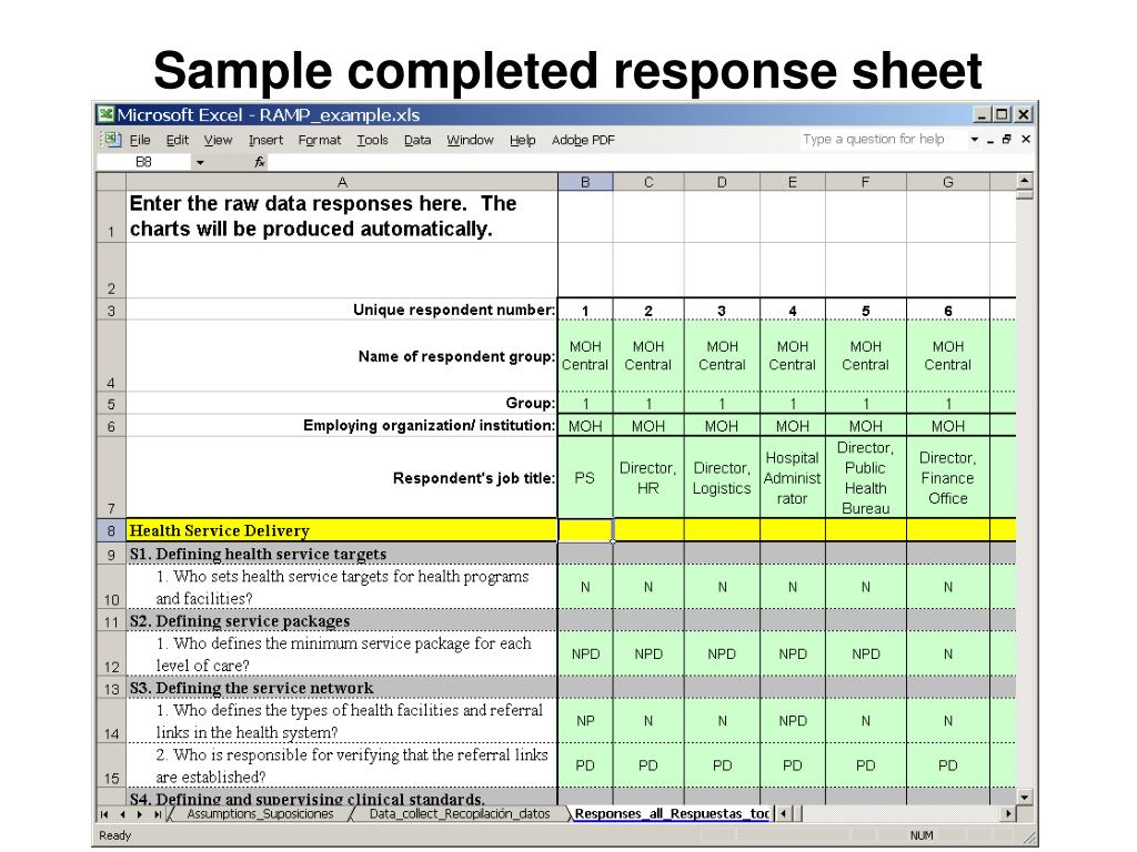 Sample completed response sheet