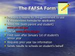 the fafsa form
