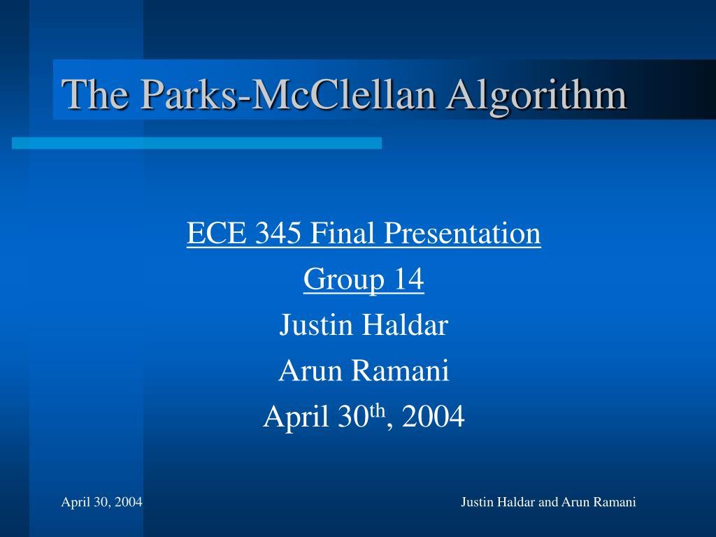 the parks mcclellan algorithm l.