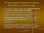 sc law requires computer forensic practitioners to be licensed