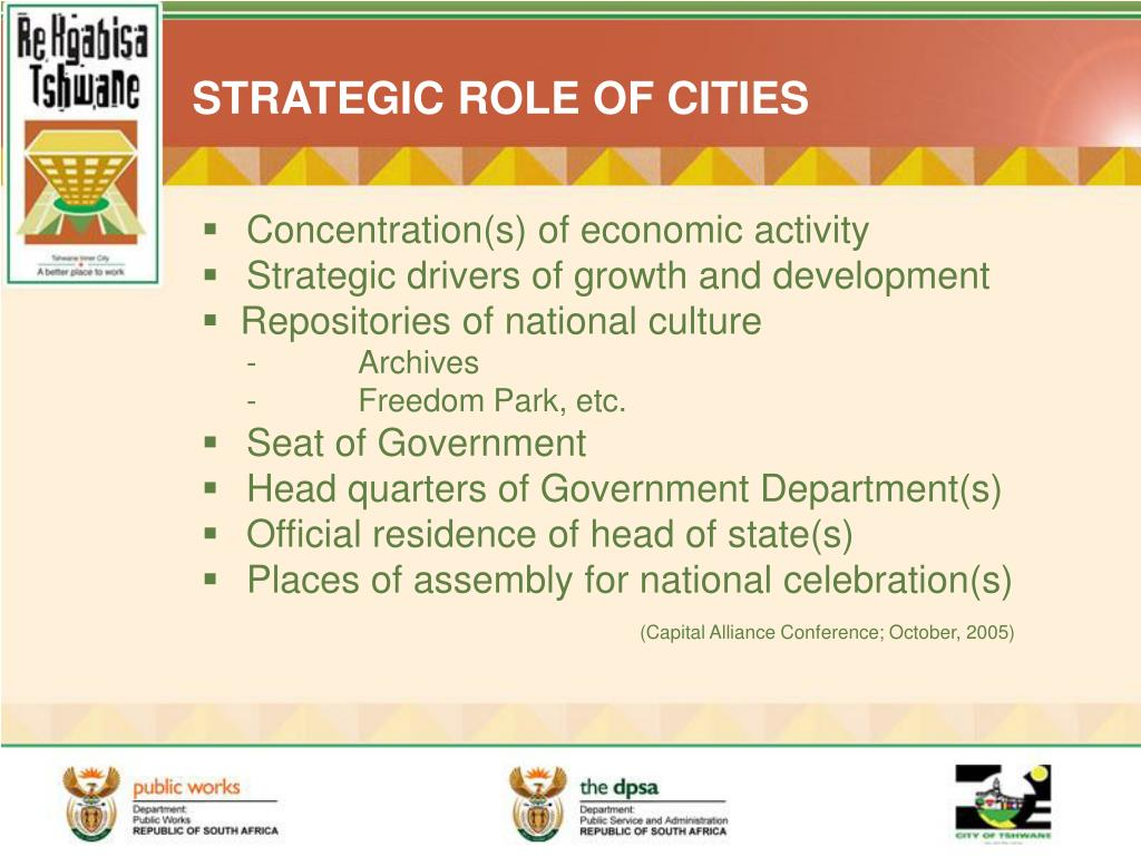 STRATEGIC ROLE OF CITIES