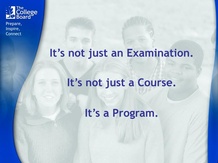 It s not just an examination