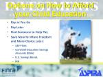 options on how to afford your child education