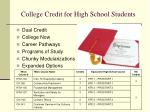 college credit for high school students