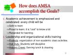 how does amsa accomplish the goals21