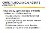 critical biological agents category a
