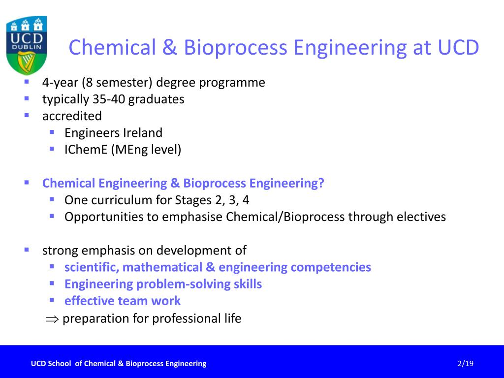 Chemical & Bioprocess Engineering at UCD