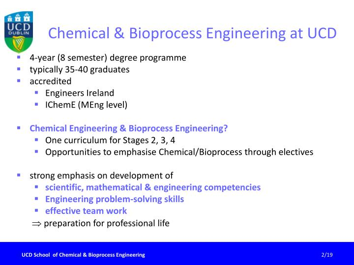 Chemical bioprocess engineering at ucd