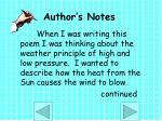 author s notes