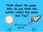 think about the poem why do you think the author called this poem sun tag