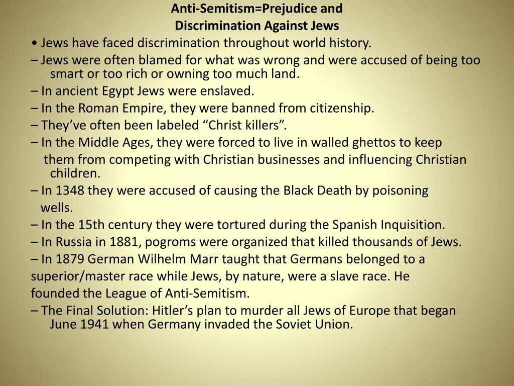 Anti-Semitism=Prejudice and