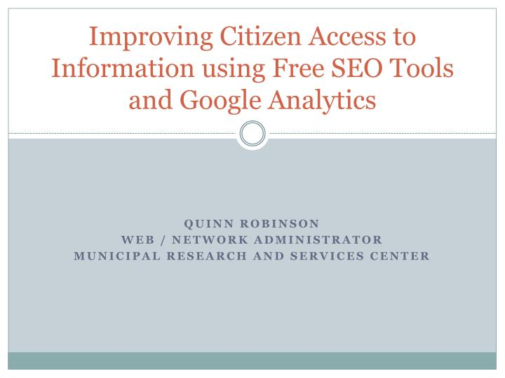improving citizen access to information using free seo tools and google analytics n.