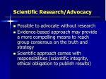 scientific research advocacy