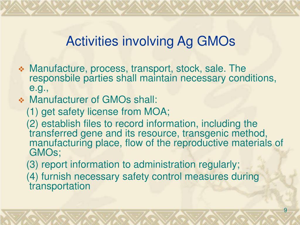 Activities involving Ag GMOs