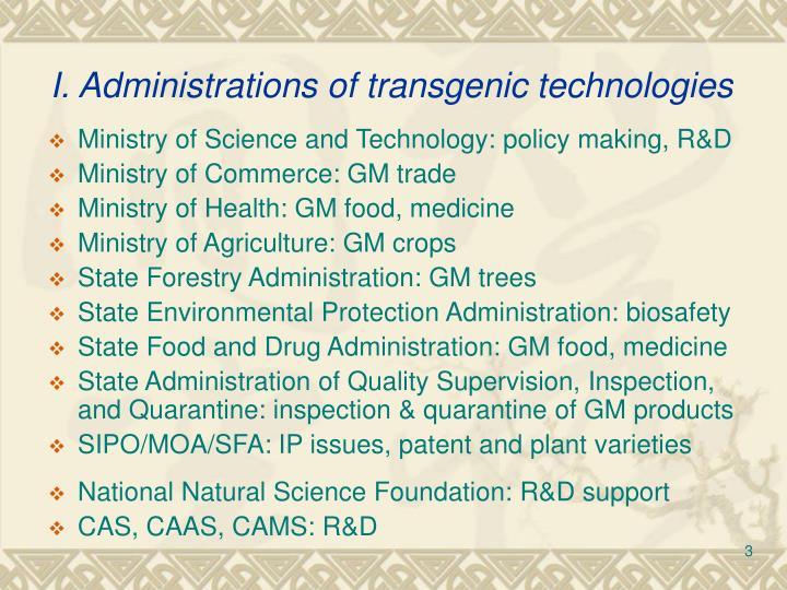 I administrations of transgenic technologies