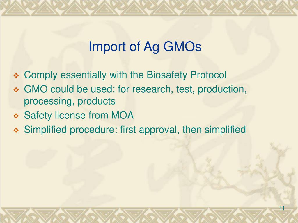 Import of Ag GMOs