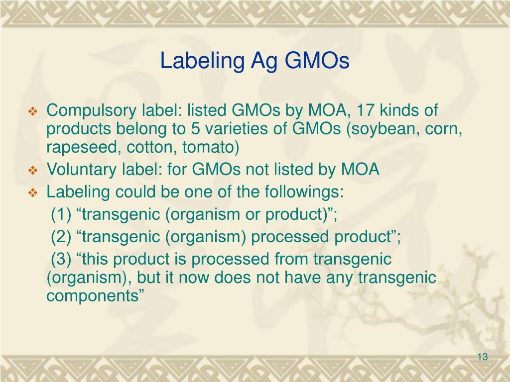 Labeling Ag GMOs