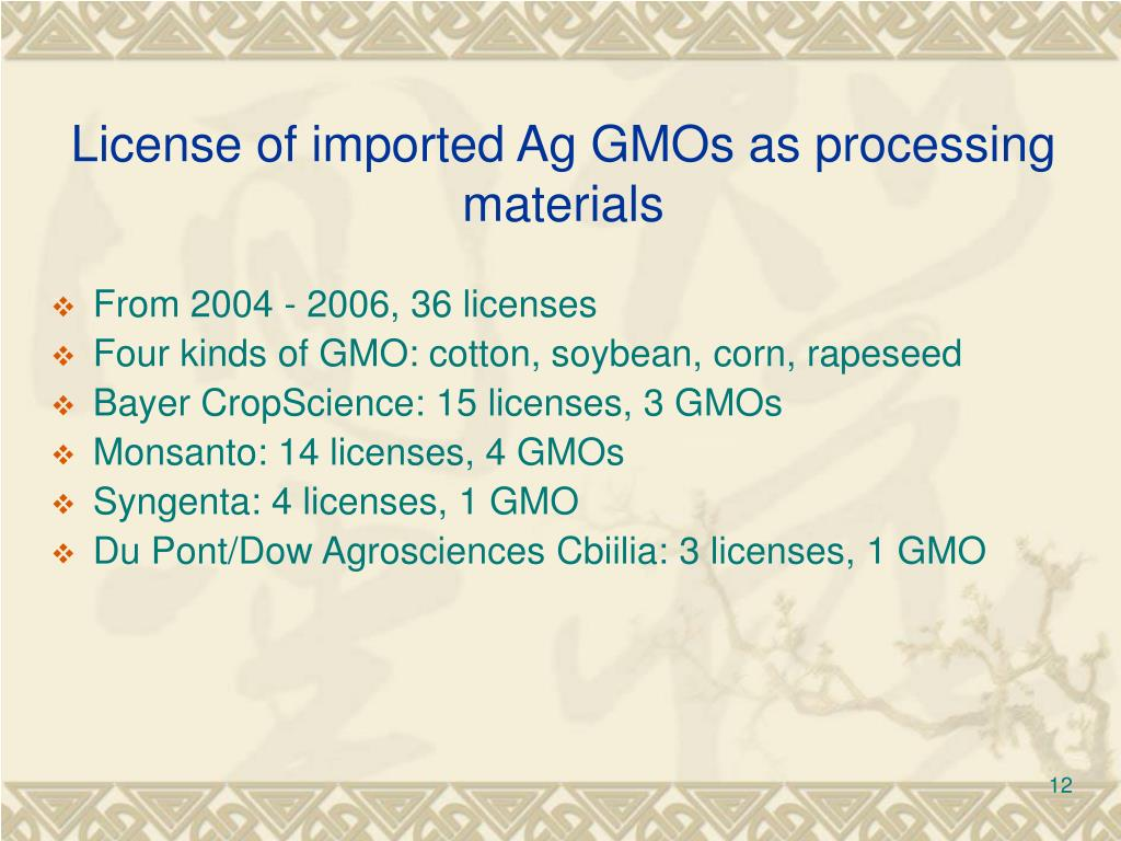 License of imported Ag GMOs as processing materials