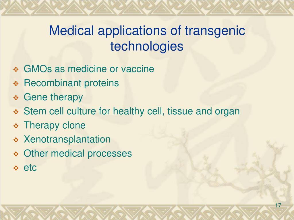 Medical applications of transgenic technologies