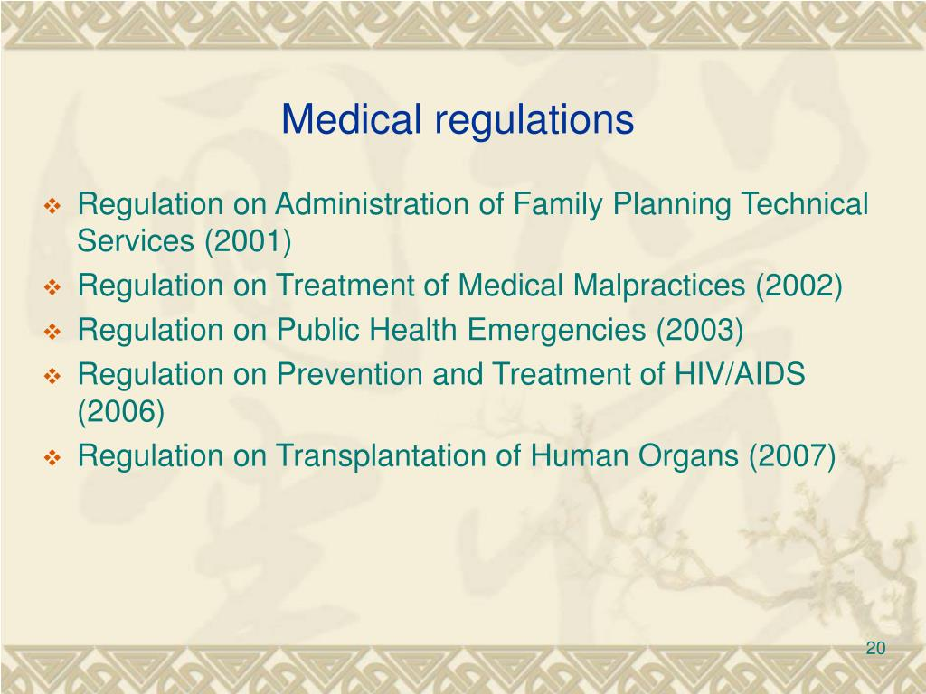 Medical regulations