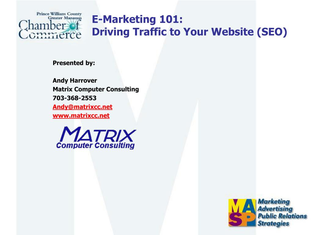 e marketing 101 driving traffic to your website seo l.