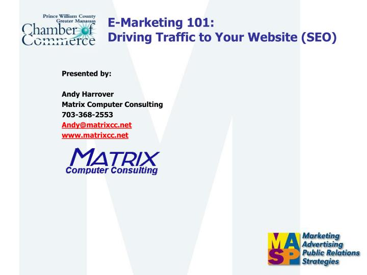 E marketing 101 driving traffic to your website seo