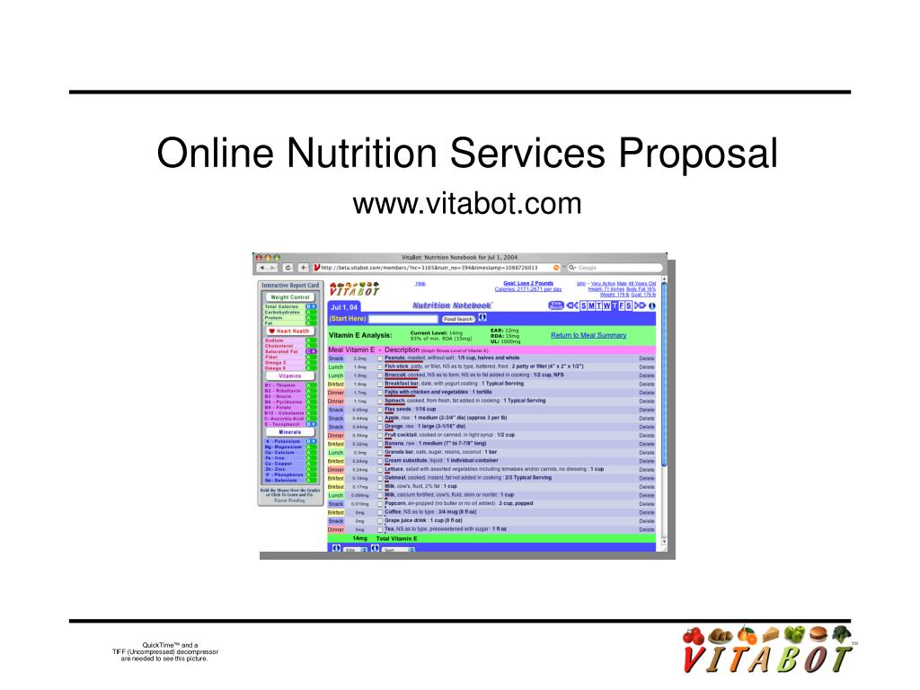 online nutrition services proposal www vitabot com l.