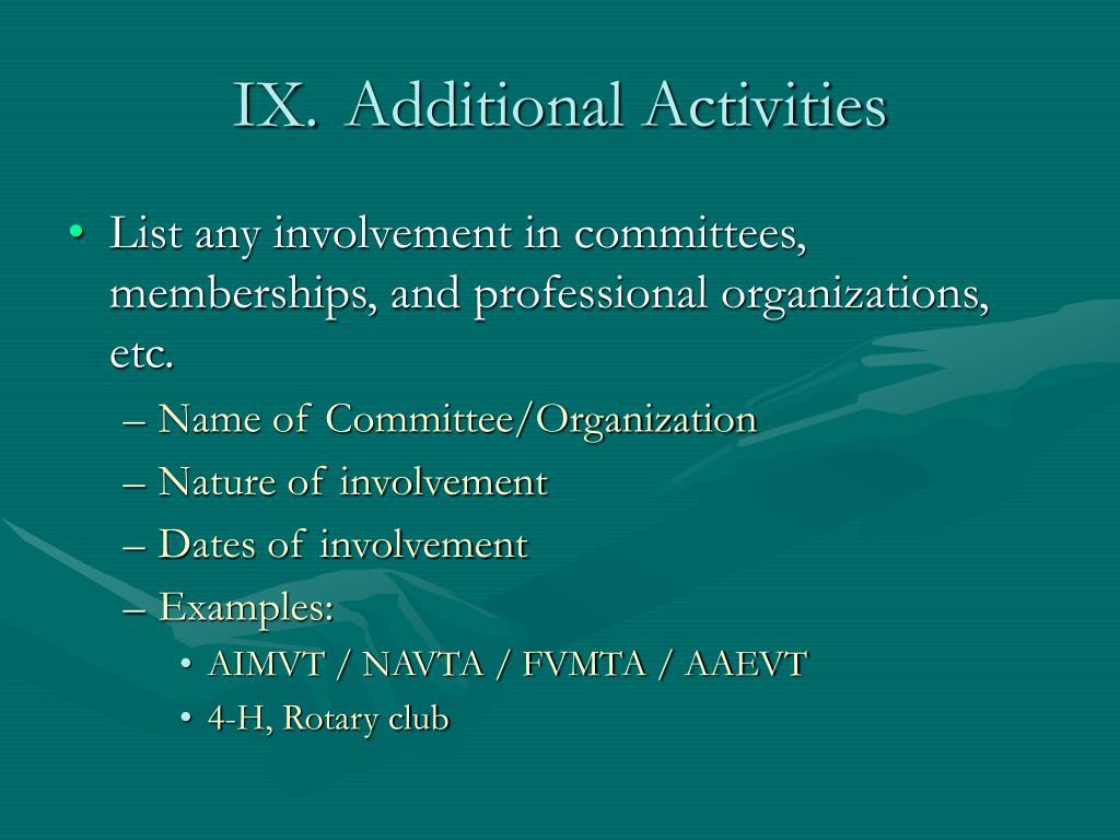 IX. Additional Activities